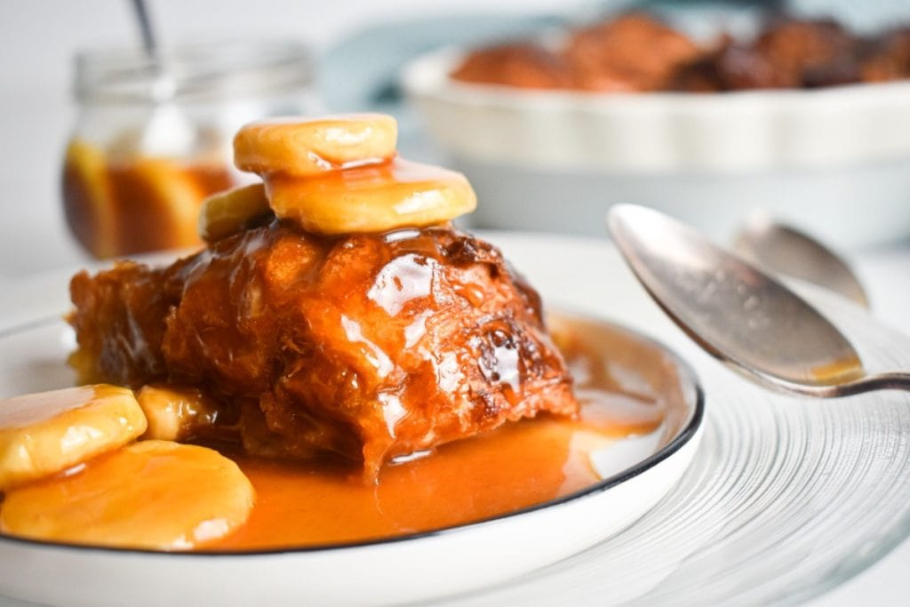 This New Orleans inspired Bananas Foster Croissant Bread Pudding with caramel sauce is as delicious as it is decadent. Here's how to make this Food + Words original.