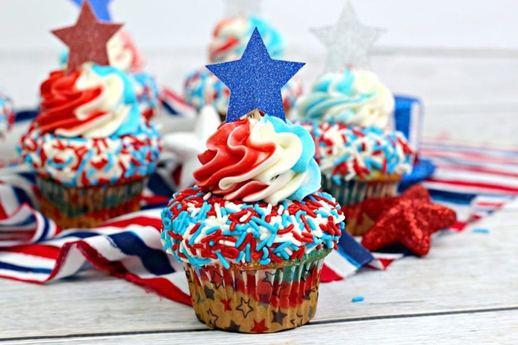 Red, White and Blue Swirl Cupcakes
