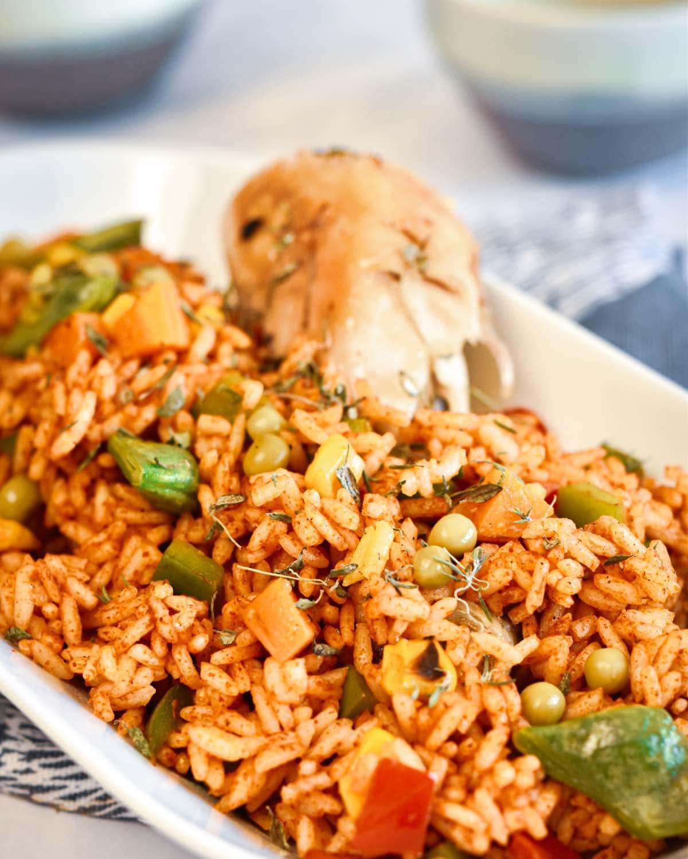Nigerian jollof rice cooked to perfection