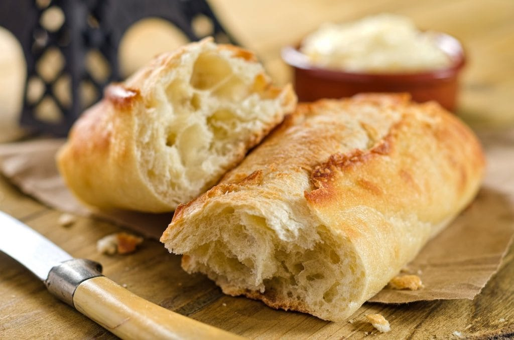 These crunchy French baguettes have a soft yet chewy interior with perfect crusting made with King Arthur Flour!
